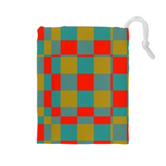 Squares In Retro Colors Drawstring Pouch (large)