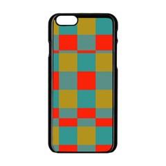 Squares In Retro Colors Apple Iphone 6 Black Enamel Case