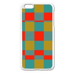 Squares In Retro Colors Apple Iphone 6 Plus Enamel White Case