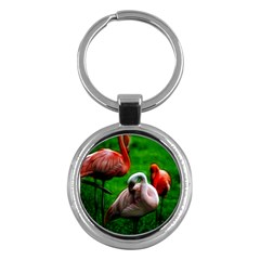 3pinkflamingos Key Chain (round)