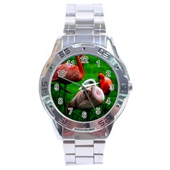 3pinkflamingos Stainless Steel Watch