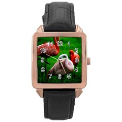 3pinkflamingos Rose Gold Leather Watch