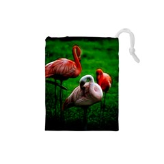 3pinkflamingos Drawstring Pouch (Small)