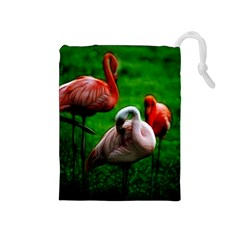 3pinkflamingos Drawstring Pouch (medium)