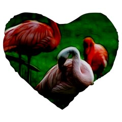 3pinkflamingos 19  Premium Flano Heart Shape Cushion
