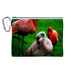3pinkflamingos Canvas Cosmetic Bag (Large)