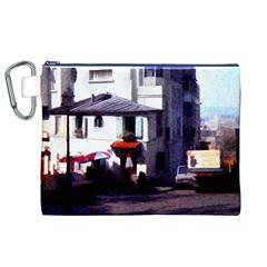 Vintage Paris Cafe Canvas Cosmetic Bag (XL)