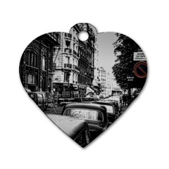 Vintage Paris Street Dog Tag Heart (two Sided)