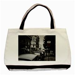Vintage Paris Street Twin Sided Black Tote Bag