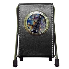 Vintage Eiffel Tower Abstract Stationery Holder Clock