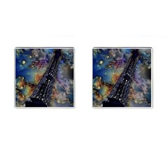 Vintage Eiffel Tower Abstract Cufflinks (square)