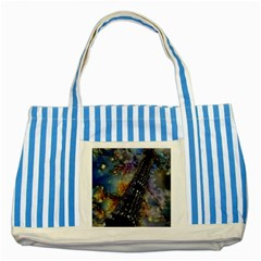 Vintage Eiffel Tower Abstract Blue Striped Tote Bag