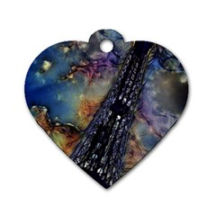 Vintage Eiffel Tower Abstract Dog Tag Heart (one Sided)
