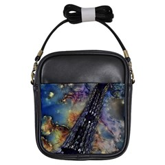 Vintage Eiffel Tower Abstract Girl s Sling Bag