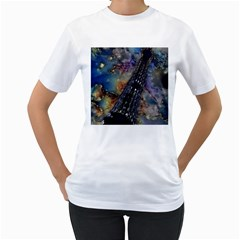 Vintage Eiffel Tower Abstract Women s T-Shirt (White)