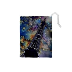 Vintage Eiffel Tower Abstract Drawstring Pouch (Small)