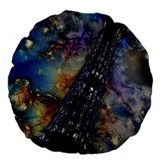 Vintage Eiffel Tower Abstract 18  Premium Flano Round Cushion