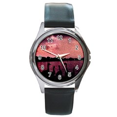 7 Geese At Sunset Round Leather Watch (silver Rim)