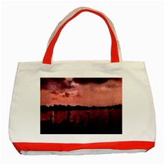 7 Geese At Sunset Classic Tote Bag (red)