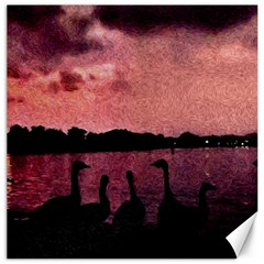 7 Geese At Sunset Canvas 12  X 12  (unframed)