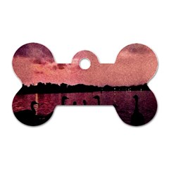 7 Geese At Sunset Dog Tag Bone (two Sided)