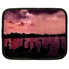7 Geese At Sunset Netbook Sleeve (large)