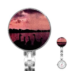 7 Geese At Sunset Stainless Steel Nurses Watch