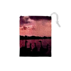 7 Geese At Sunset Drawstring Pouch (small)