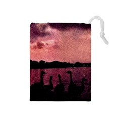 7 Geese At Sunset Drawstring Pouch (Medium)