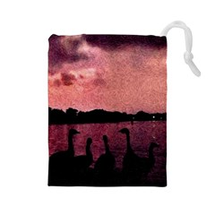 7 Geese At Sunset Drawstring Pouch (Large)