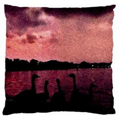7 Geese At Sunset Large Flano Cushion Case (Two Sides)