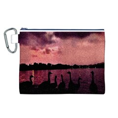 7 Geese At Sunset Canvas Cosmetic Bag (Large)