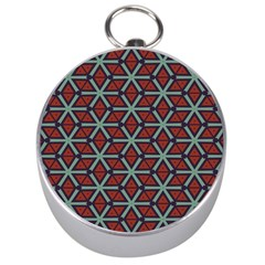 Cubes Pattern Abstract Design Silver Compass
