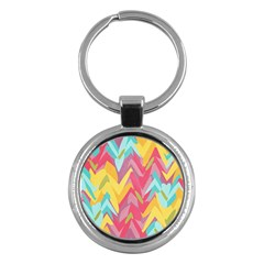 Paint Strokes Abstract Design Key Chain (round)