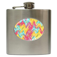 Paint Strokes Abstract Design Hip Flask (6 Oz)