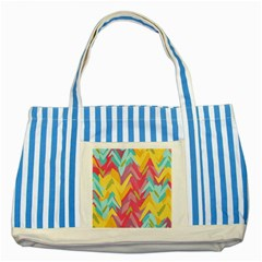 Paint strokes abstract design Striped Blue Tote Bag
