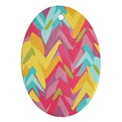 Paint Strokes Abstract Design Oval Ornament (two Sides)