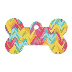 Paint strokes abstract design Dog Tag Bone (Two Sides)