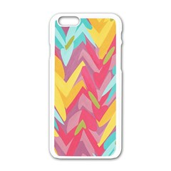 Paint Strokes Abstract Design Apple Iphone 6 White Enamel Case