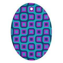 Blue Purple Squares Pattern Ornament (oval)