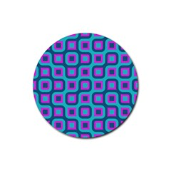 Blue Purple Squares Pattern Rubber Coaster (round)