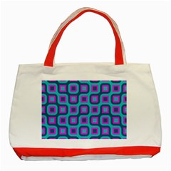 Blue purple squares pattern Classic Tote Bag (Red)