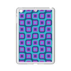 Blue purple squares pattern Apple iPad Mini 2 Case (White)