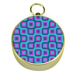 Blue purple squares pattern Gold Compass