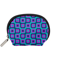 Blue Purple Squares Pattern Accessory Pouch (small)