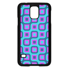 Blue purple squares pattern Samsung Galaxy S5 Case (Black)