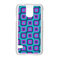Blue purple squares pattern Samsung Galaxy S5 Case (White)