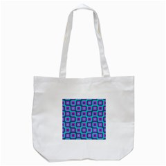 Blue purple squares pattern Tote Bag (White)