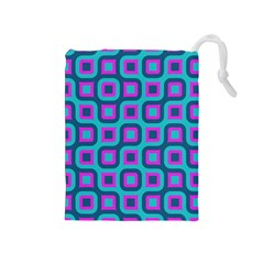 Blue purple squares pattern Drawstring Pouch (Medium)