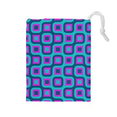 Blue purple squares pattern Drawstring Pouch (Large)
